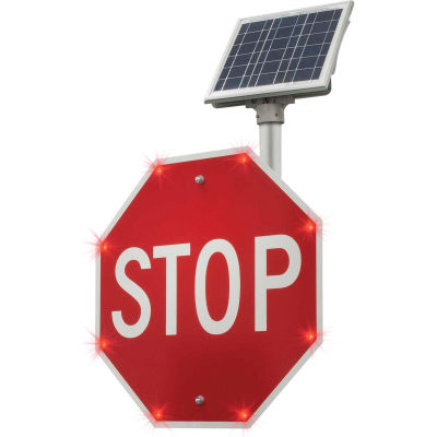 """2180-00209 BlinkerStop® Flashing LED STOP Sign R1-1, 30""""W, Solar"""