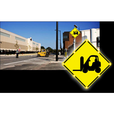 "2180-05476 BlinkerSign® Flashing LED ""Forklift Symbol"" Sign, 30""W, Yellow, Solar"