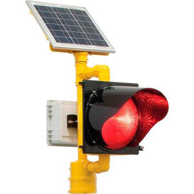 2180-BBSRY BlinkerBeacon™ Solar Flashing LED Beacon, Red Lens, Yellow Housing