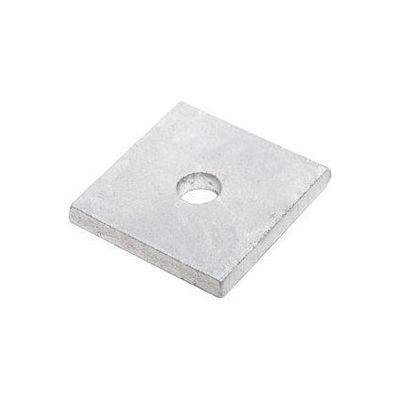 "1"" Square Plate Washer - "" I.D. - 3/8"" Thick - Steel - Hot Dip Galvanized - Grade 2 - Pkg of 10"