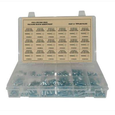 """400 Piece Machine Screw Assortment - #6 to 1/4"""" - Phillips Pan Head - Steel - Zinc"""
