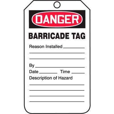 Accuform TAB104PTP Danger Barricade Tag, RP-Plastic, 25/Pack