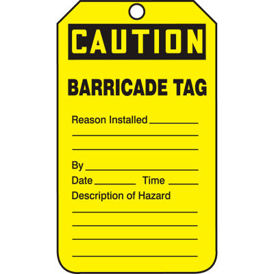 Accuform TAB105PTP Caution Barricade Tag, RP-Plastic, 25/Pack
