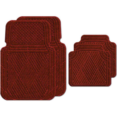 Waterhog Car Mats with Classic Pattern, Large, Red/Black, Full Set of 4 - 3902550002070