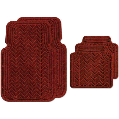 Waterhog Car Mats with Chevron Pattern, Large, Red/Black, Full Set of 4 - 3904550002070