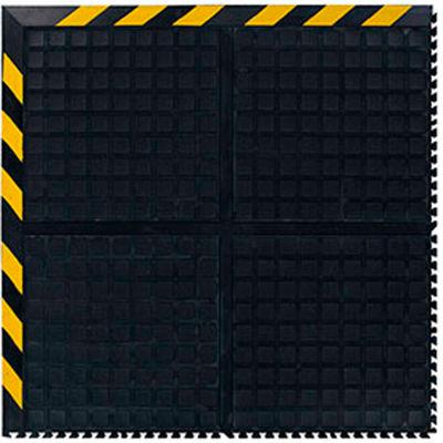 """Hog Heaven III™ Comfort Modular Corner Tile 3/4"""" Thick 3' Black/Yellow Chevron Border"""