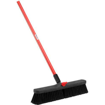 Libman Commercial Push Broom with Resin Block - 18 - Fine-Duty Bristles - 800 - Pkg Qty 4