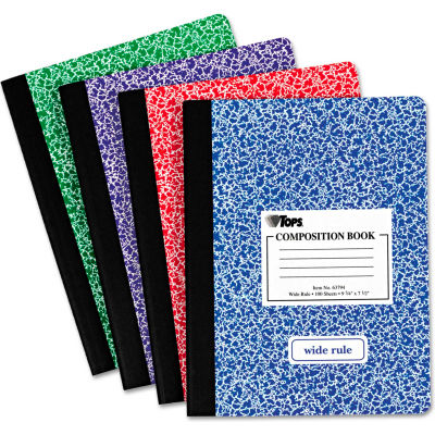 """TOPS® Composition Book w/Hard Cvr 63794, 9-3/4"""" x 7-1/2"""", White, 100 Sheets/Pack"""