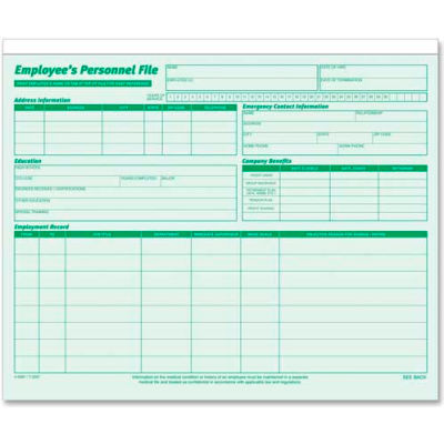 """Tops® Employee Record File, 25-3/4"""" x 9-1/2"""", Green, 20/Pack"""