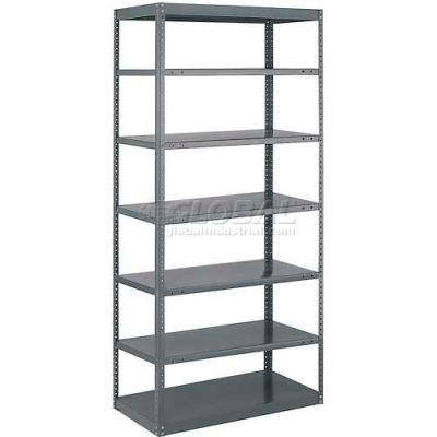 "Tri-Boro N&B Sturdi-Frame Open Shelving Unit 36""W x 18""D x 87""H, 7 Shelves, 18 ga., Dark Gray"