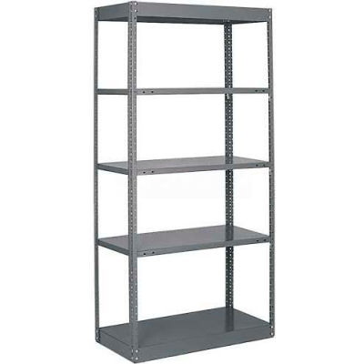 "Tri-Boro Offset Sturdi-Frame Open Shelving Unit 36""W x 18""D x 75""H, 5 Shelves, 18 Ga., Dark Gray"