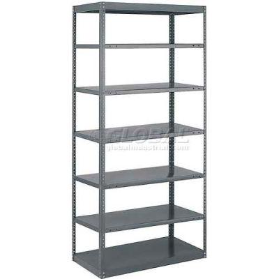 """Tri-Boro Offset Sturdi-Frame Open Shelving Unit 36""""W x 18""""D x 75""""H, 7 Shelves, 18 Ga., Dark Gray"""