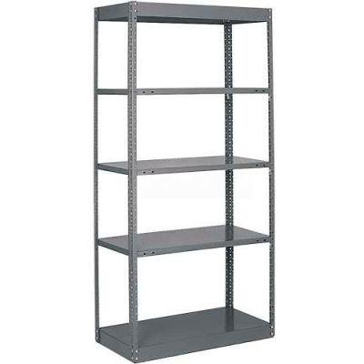 """Tri-Boro Offset Sturdi-Frame Open Shelving Unit 36""""W x 24""""D x 75""""H, 5 Shelves, 18 Ga., Dark Gray"""