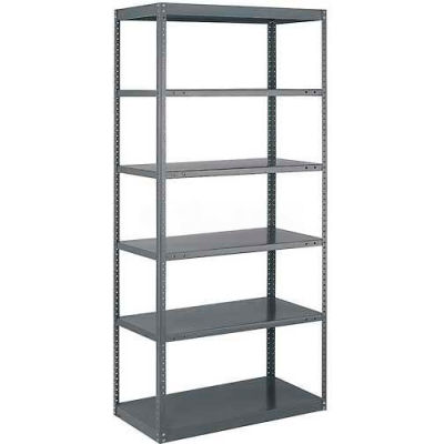 "Tri-Boro Offset Sturdi-Frame Open Shelving Unit 36""W x 24""D x 75""H, 6 Shelves, 18 Ga., Dark Gray"