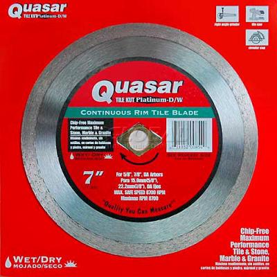 """7"""" Quasar Tile-Kut Platinum Dry/Wet Continuos Rim Diamond Blade"""