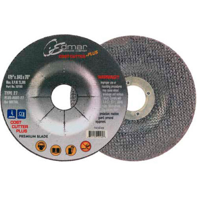 "Edmar Abrasive Company 10160 Cut-Off Wheel T29 4-1/2"" x .045"" x 7/8"" 60 Grit Diamond Grain - Pkg Qty 50"