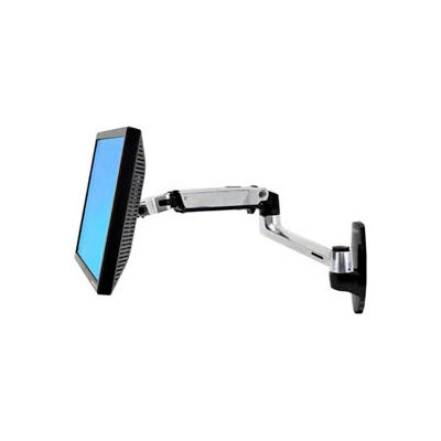 Ergotron® LX Wall Monitor Arm, Polished Aluminum