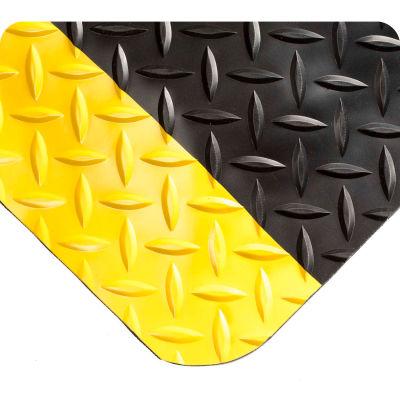 "Wearwell® Diamond-Plate SpongeCote™ Mat 9/16"" Thick 2' x 3' Black/Yellow Border"