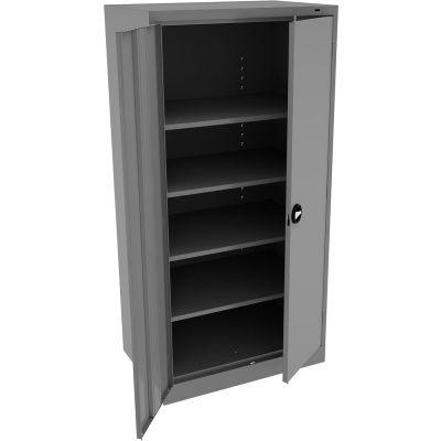 "Tennsco Standard Storage Cabinet, Recessed Handle, 36""Wx24""Dx72""H, Medium Gray, Unassembled"