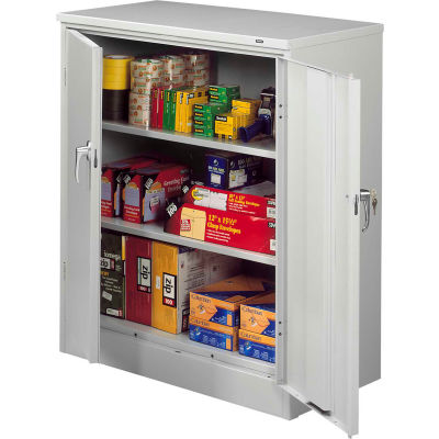 "Tennsco Deluxe KD Counter Height Cabinet 36""W x 24""D x 42""H Light Grey"