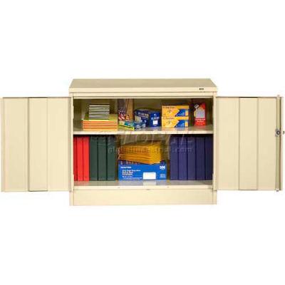 "Tennsco Desk Height Storage Cabinet 3018-MGY - Welded 36""W X 18""D X 30""H, Medium Grey"