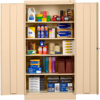 """Tennsco Standard All-Welded Storage Cabinet, Turn Handle, 36""""Wx24""""Dx72""""H, Champagne Putty"""
