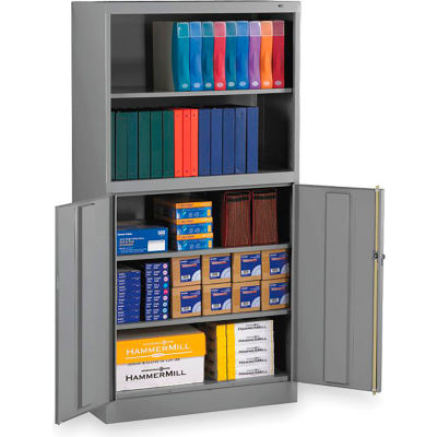"""Tennsco All-Welded Storage Cabinet With Bookcase, 36""""Wx18""""Dx72""""H, Medium Gray"""
