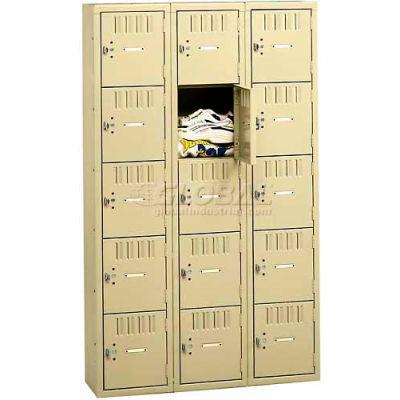 Tennsco Box Locker BK5-121212-C-MGY - Five Tier No Legs 3 Wide 12 x 12 x 12 Unassembled, Medium Gray