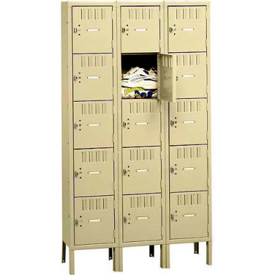 Tennsco Box Locker BK5-121512-3-SND - Five Tier w/Legs 3 Wide 12 x 15 x 12 Unassembled, Sand