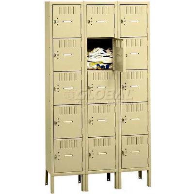 """Tennsco Five Tier 15 Door Box Locker With Legs, 12""""Wx18""""Dx12""""H, Light Gray, Unassembled"""