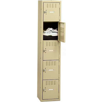 Tennsco Box Locker BK5-121812-A-MGY - Five Tier No Legs 1 Wide 12 x 18 x 12 Unassembled, Medium Gray