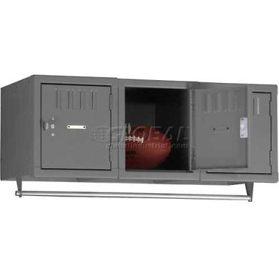 """Tennsco Single Tier 3 Door Wall Mount Box Locker, 12""""Wx18""""Dx12""""H, Light Gray, Assembled"""