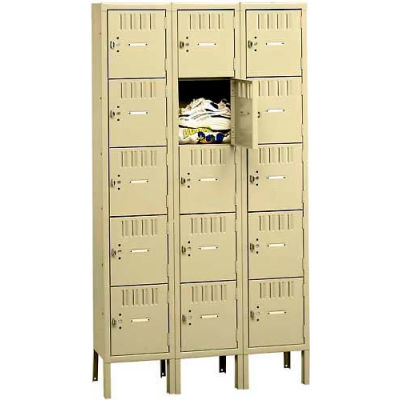 "Tennsco Five Tier 15 Door Box Locker With Legs, 12""Wx15""Dx12""H, Sand, Assembled"