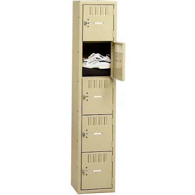 "Tennsco Five Tier 5 Door Box Locker, 12""Wx15""Dx12""H, Sand, Assembled"