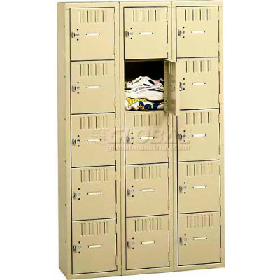 "Tennsco Five Tier 15 Door Box Locker, 12""Wx15""Dx12""H, Light Gray, Assembled"