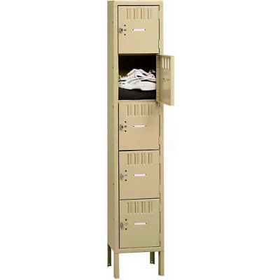 "Tennsco Five Tier 5 Door Box Locker With Legs, 12""Wx18""Dx12""H, Medium Gray, Assembled"