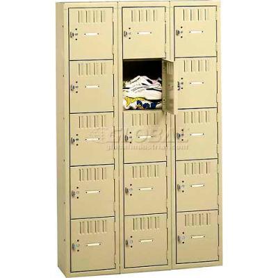 """Tennsco Five Tier 15 Door Box Locker, 12""""Wx18""""Dx12""""H, Light Gray, Assembled"""