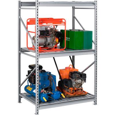 "Tennsco Bulk Storage Rack - 48""W x 24""D x 96""H - Starter - 3 Shelf Levels - Steel Deck - Light Gray"