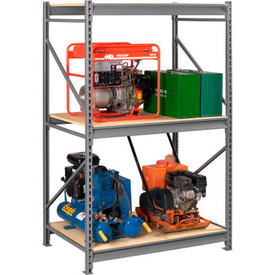 "Tennsco Bulk Storage Rack - 48""W x 24""D x 96""H - Starter -3 Shelf Levels - Wood Deck - Medium Gray"