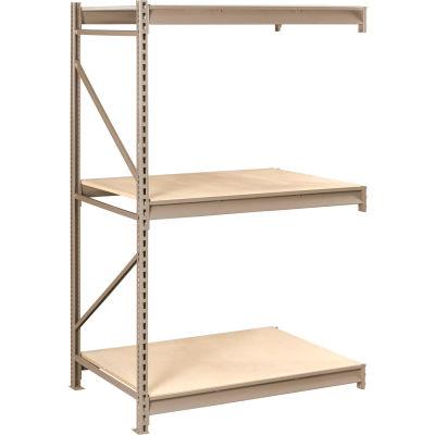 "Tennsco Bulk Storage Rack - 48""W x 36""D x 84""H - Add-On - 3 Shelf Levels - Wood Deck - Sand"