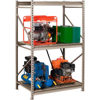 "Tennsco Bulk Storage Rack - 48""W x 36""D x 96""H - Starter - 3 Shelf Levels - Steel Deck - Sand"