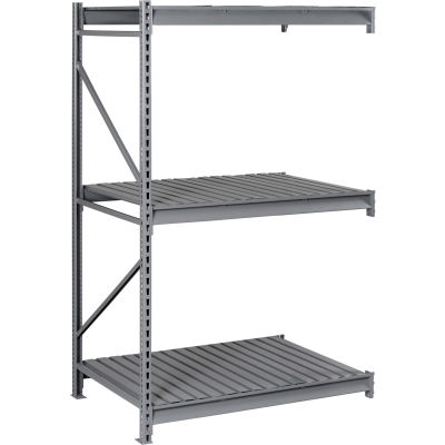 "Tennsco Bulk Storage Rack - 72""W x 24""D x 72""H - Add-On - 3 Shelf Levels - Steel Deck - Medium Gray"