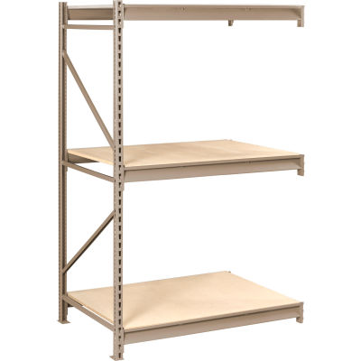"Tennsco Bulk Storage Rack - 72""W x 48""D x 120""H - Add-On - 3 Shelf Levels - Wood Deck - Sand"