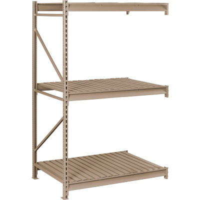 "Tennsco Bulk Storage Rack - 72""W x 48""D x 84""H - Add-On - 3 Shelf Levels - Steel Deck - Sand"