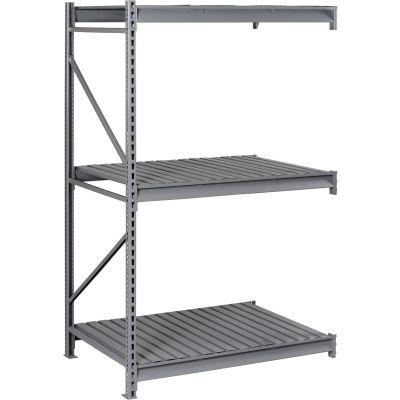 "Tennsco Bulk Storage Rack - 72""W x 48""D x 96""H - Add-On - 3 Shelf Levels - Steel Deck - Medium Gray"