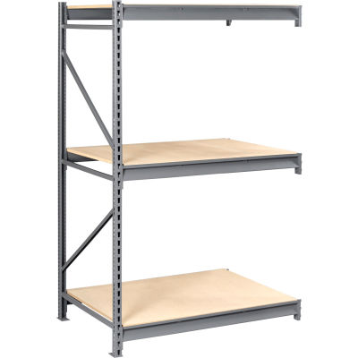 "Tennsco Bulk Storage Rack - 72""W x 48""D x 96""H - Add-On - 3 Shelf Levels - Wood Deck - Medium Gray"