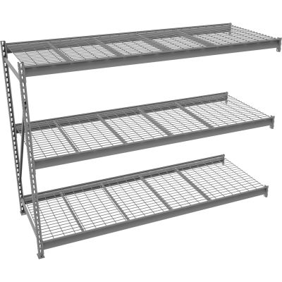 "Tennsco Bulk Storage Rack - 72""W x 48""D x 96""H - Add-On - 3 Shelf Levels - Wire Deck - Medium Gray"