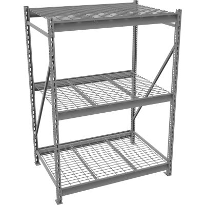 "Tennsco Bulk Storage Rack - 96""W x 24""D x 120""H - Starter - 3 Shelf Levels - Wire Deck - Medium Gray"
