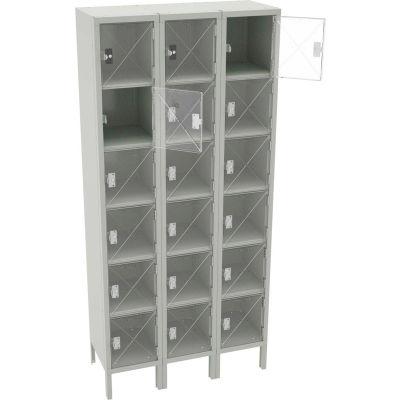 """Tennsco Six Tier 18 Door Welded C-Thru Box Locker W/Legs, 12""""Wx15""""Dx12""""H, Light Gray, Assembled"""