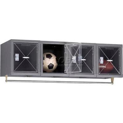 """Tennsco Single Tier 4 Door C-Thru Wall Mount Box Locker, 12""""Wx18""""Dx12""""H, Putty, Assembled"""